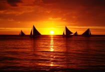 Sunset Sailing Boat Sunset HD Wallpapers - Sunset Sailing Boat