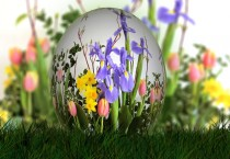 Easter Egg And Flowers