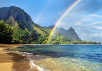 Rainbow Over The Beach HD